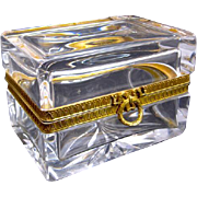 Antique Baccarat Crystal Bow Casket Box