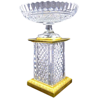 Tall Antique BACCARAT Cut Crystal Centrepiece Vase