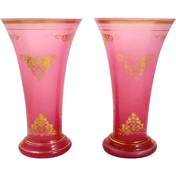 Pair Antique French Pink Opaline Glass Vases from ... Opaline Ruffled Glass Pink Vase