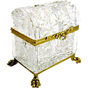 Gigantic Antique French Cut Crystal Casket With Domed Lid.