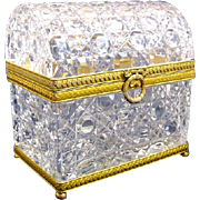 Antique French Cut Crystal Domed Casket Box with Dore Bronze Wreath Clasp