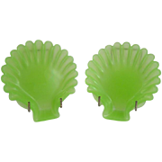 Pair of Antique French Green Opaline Glass Leaf Plates
