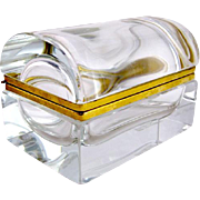 Domed Cut Crystal Casket Box with Smooth Mounts.  Mid 20th Century.