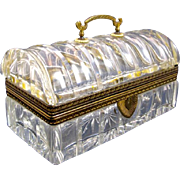 Antique French Cut Crystal Casket Box with Domed Lid.