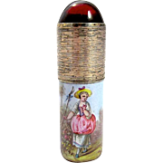 Palais Royal Enamelled Perfume Bottle with Cabouchon Stopper