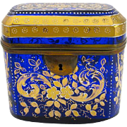 Antique Bohemian Blue Crystal Enamelled Casket Box with Dore Bronze Mounts.