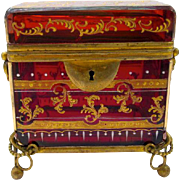 Antique MOSER Ruby Red Enamelled Casket Box