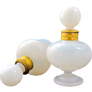 Pair of Charles X Bulle de Savon Opaline Glass Perfume Bottles