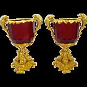 Exquisite Antique Pair French Bronze & Crystal Vases