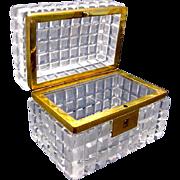 Antique French Cut Crystal Casket Box
