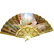 Antique French Hand Painted Fan
