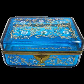 Antique Bohemian MOSER Turquoise Casket