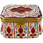 Antique Bohemian Overlay Glass Enamelled Casket Box