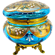 Antique Bohemian Moser Glass Casket Box