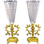 Pair of Elegant Antique French Cut Crystal Engraved Vases.