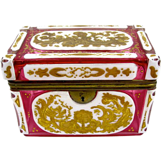 Antique Bohemian Pink Overlay Glass Casket Box