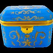 Antique Bohemian Blue Opaline Glass Enamelled Casket Box