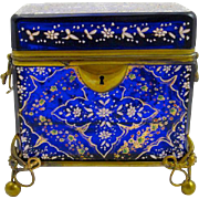 Antique Bohemian Cobalt Blue Enamelled Casket Box
