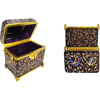 Antique MOSER Amethyst Casket Box Enamelled with Flowers and Birds.