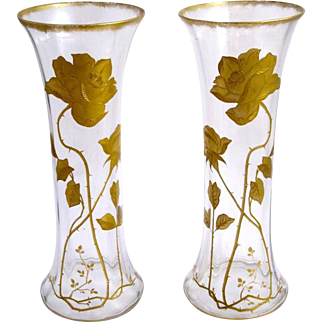 Antique French St Louis Enamelled Vases