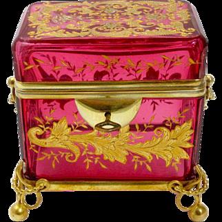 Antique Cranberry Glass Moser Casket Box