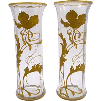 Pair of Small St Louis Gilded Vases