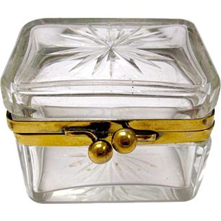 Miniature Antique French Cut Crystal Casket