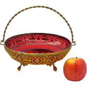 Antique French Dore Bronze & Cranberry Glass Basket