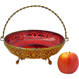 Antique French Dore Bronze & Cranberry Glass Basket