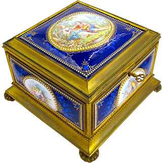 Large Stunning French Enamelled Casket & Key