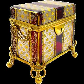 Antique MOSER Ruby Red Enamelled Casket Box