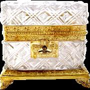 Antique Baccarat Cut Crystal Casket Box with Key