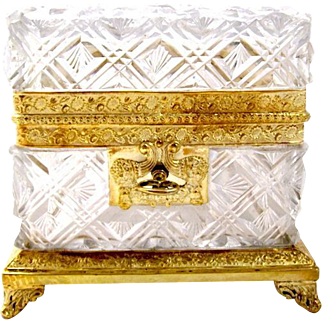 Antique Baccarat Cut Crystal Casket Box with Key