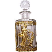 Antique Napoleon III Cut Crystal & Dore Bronze Perfume Bottle