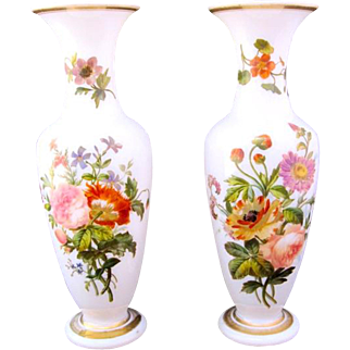 Pair of Antique Baccarat Hand Painted Opaline Glass Vases
