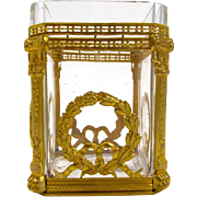 Napoleon III Dore Bronze and Cut Crystal Pen Holder with Fine Decoration.