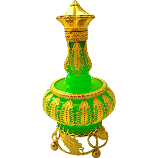 Palais Royal Green Opaline Glass Perfume Bottle