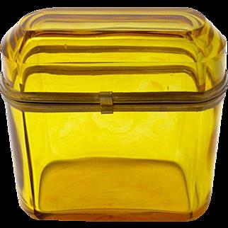 Antique Bohemian Amber Glass Casket Box
