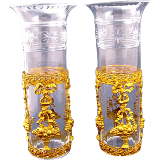 Pair Napoleon III Dore Bronze & Crystal Vases