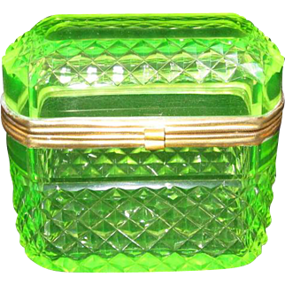 Antique Bohemian Uranium Glass Casket Box