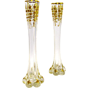 Pair of Unusual Antique Tall St Louis Vases with Fine Gilding