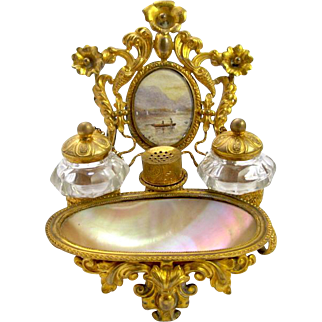Palais Royal Mother of Pearl Inkwell