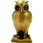 Antique Brass Owl Reading a Book Pin Cushion