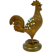 Antique Brass Cockerel Pin Cushion.