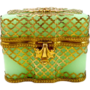 Antique Stunning Green Opaline Glass Casket Box