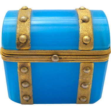 French 19th Century Blue Opaline Mini 'Chest' Box