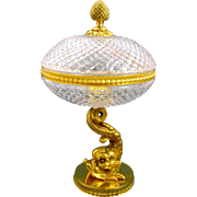 Elegant French Crystal and Bronze Dolphin Tazza