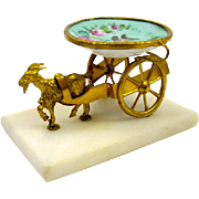 Antique Palais Royal Porcelain & Bronze Goat Cart