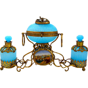 LARGE RARE Palais Royal Baccarat Blue Opaline Perfume Set