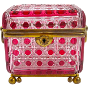 Antique BACCARAT Cranberry Hobnail Cut Crystal Casket Box